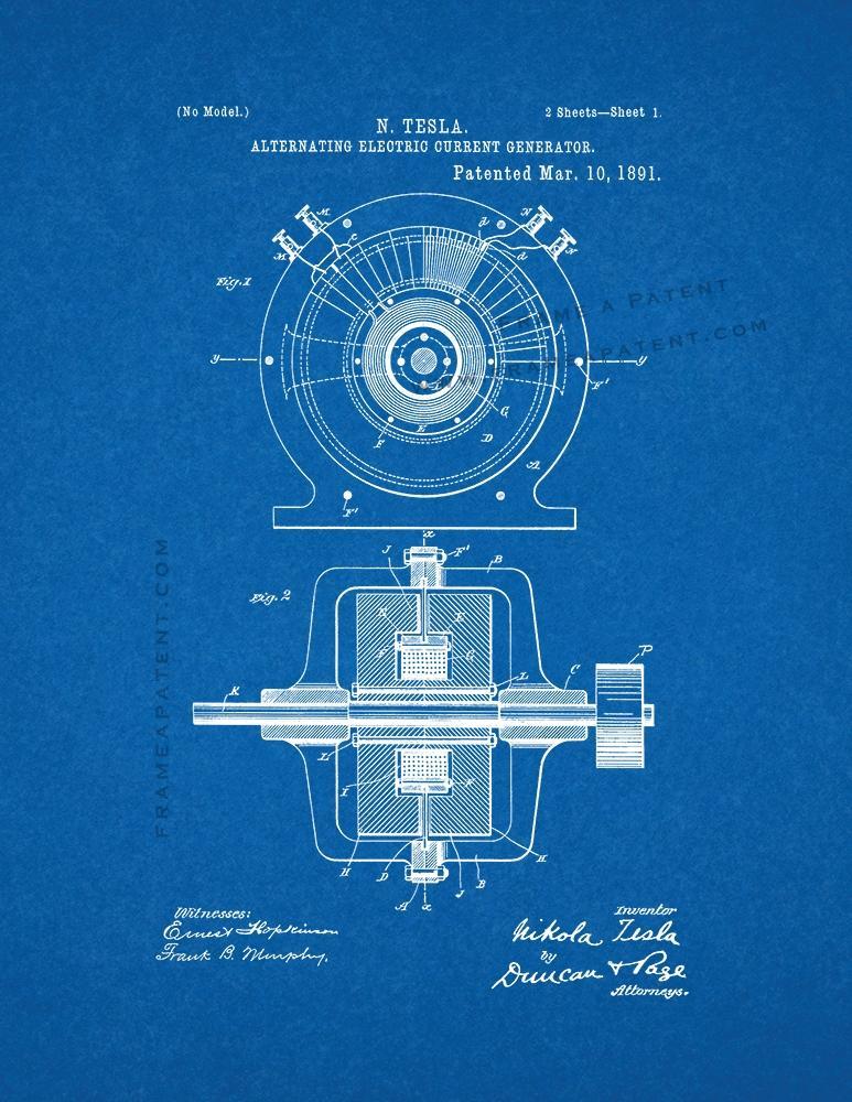 alternating current tesla. tesla alternating electric current generator patent print