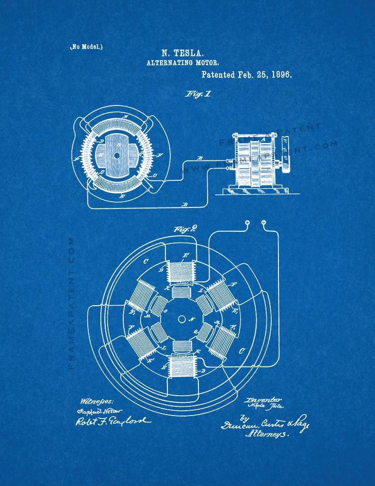 Tesla Alternating Motor Patent Print Blueprint Ad
