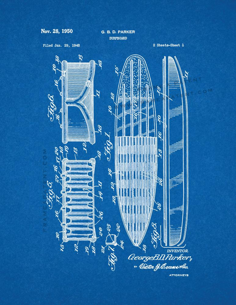 Surfboard Patent Print Poster Item#11940: Frame a Patent™