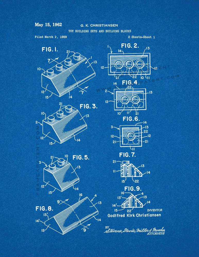 Lego Toy Building Sets And Building Blocks Patent Print Poster Item ...