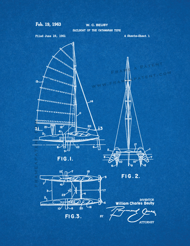 Sailboat of the catamaran type patent print blueprint ebay for Blueprint sizes