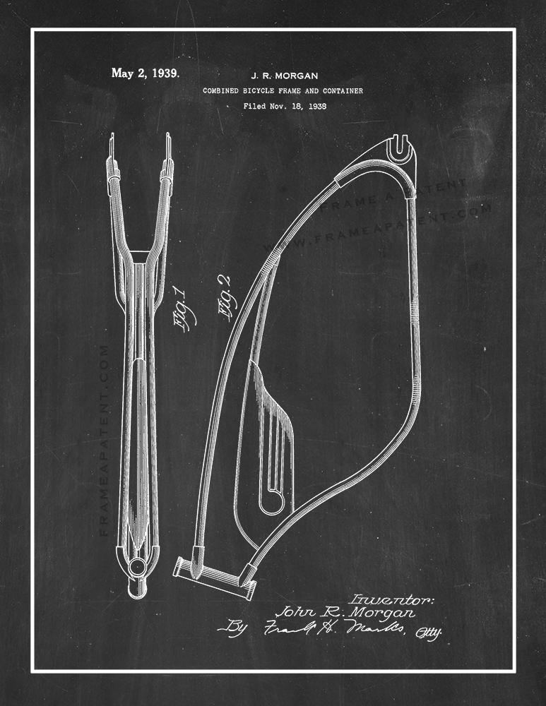 Combined Bicycle Frame Patent Print Poster Item#12830: Frame a Patent™