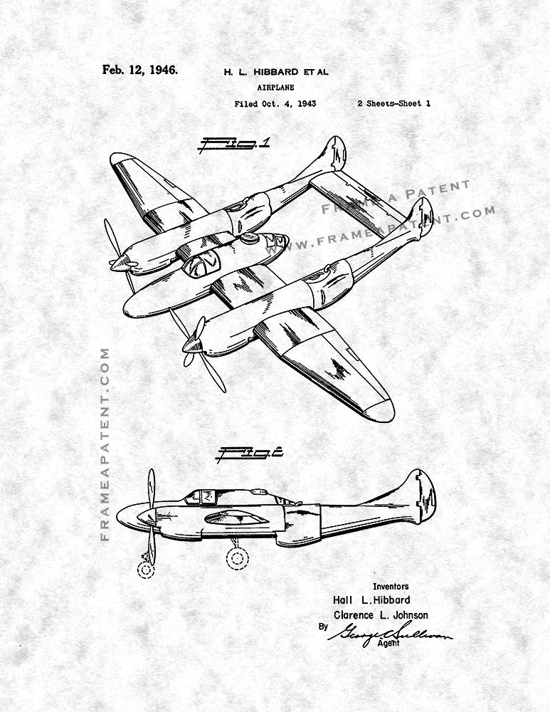 Airplane Patent Print Poster Item10354 Frame A Patent