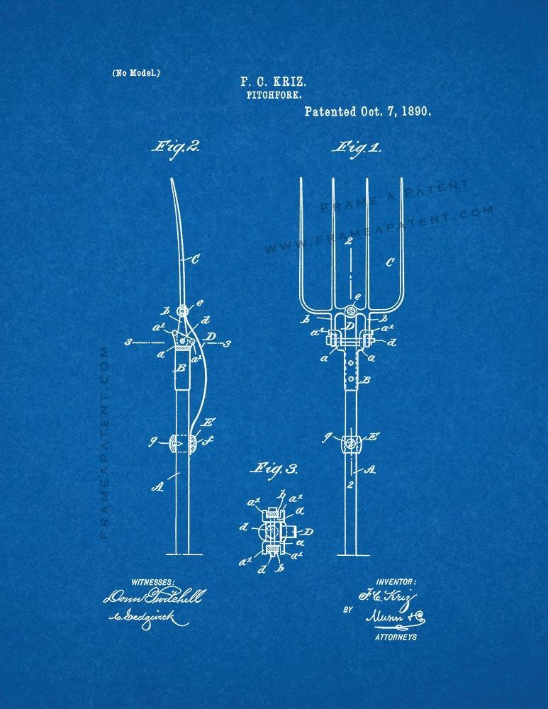 Pitchfork patent print poster item14268 frame a patent pitchfork patent print malvernweather Gallery