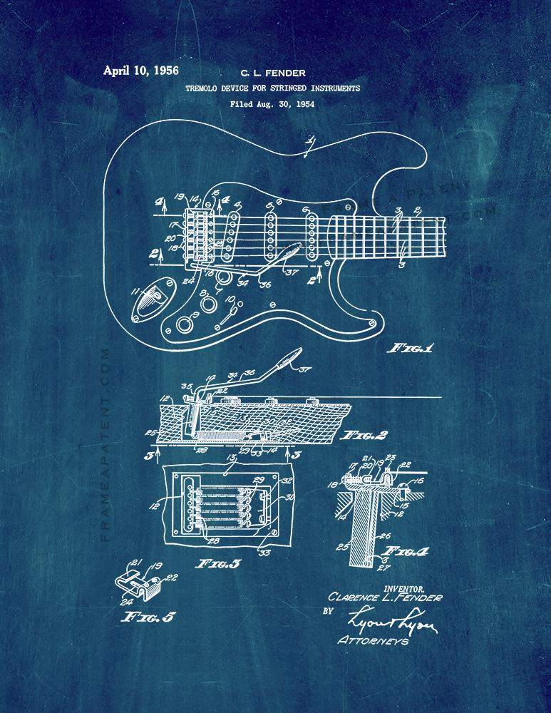 Clarence Fender Stratocaster Patent Print Midnight Blue
