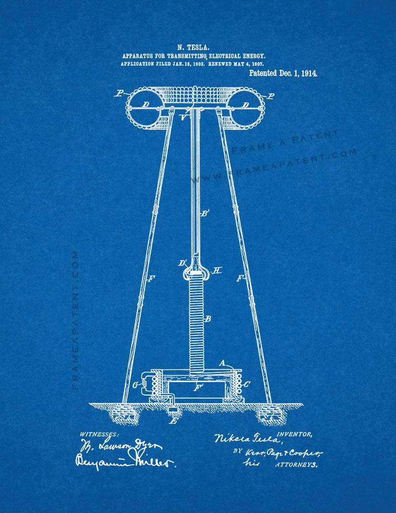Tesla Apparatus For Transmitting Electrical Energy Patent Print Blueprint
