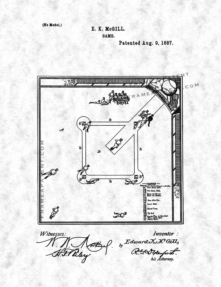 Baseball Game Patent Print