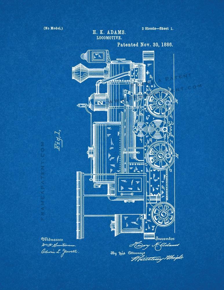 Locomotive Train Patent Print Blueprint Ebay