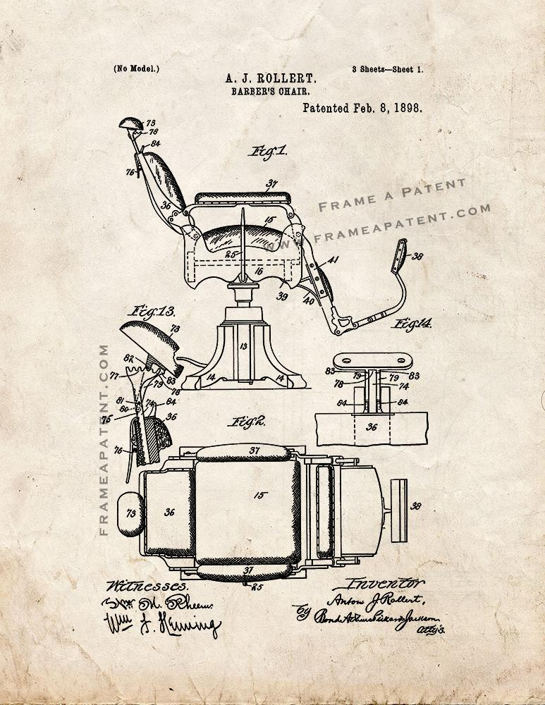 Barber/'s Chair Patent Print Old Look