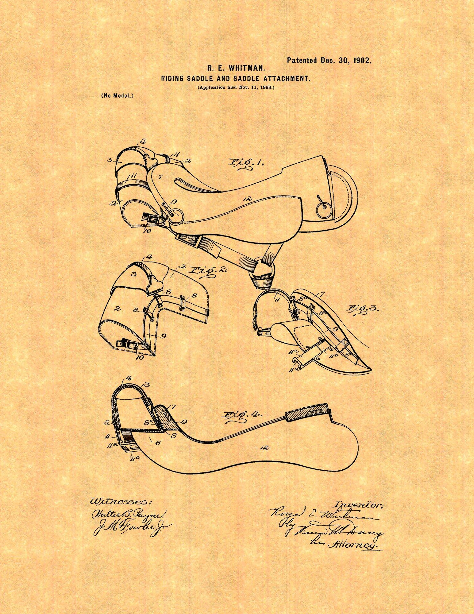 Frame a Patent Horse Riding-saddle And Saddle Attachment Patent Art Print at Sears.com