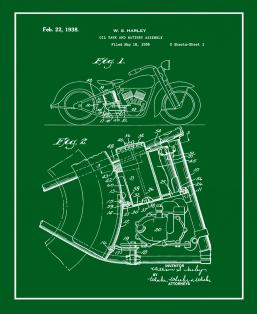 Harley Motorcycle Oil Tank And Battery Assembly Patent Print