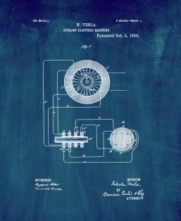 Tesla Dynamic Electric Machine Patent Print