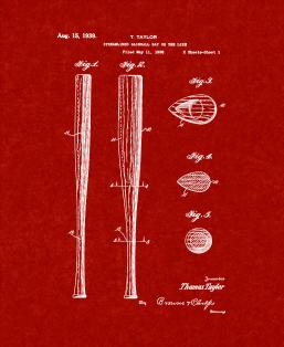 Streamlined Baseball Bat Patent Print
