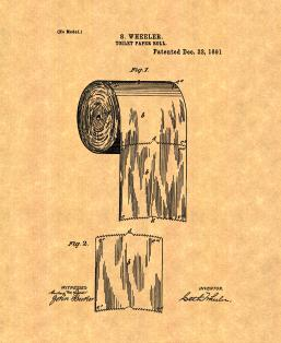 Toilet Paper Roll Patent Print