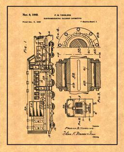 Electromechanical Railroad Locomotive Patent Print
