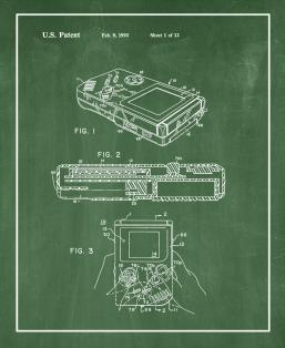 Gameboy Video Game System Patent Print
