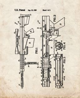 Self-unlocking Device For Recoiling Gun Patent Print