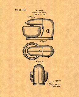 Kitchen Mixing Machine Patent Print