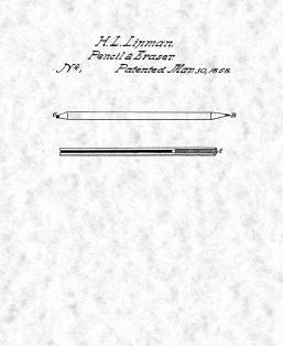 Combination Of Lead Pencil And Eraser Patent Print