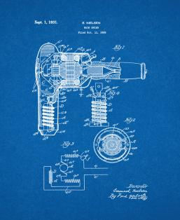 Hair Dryer Patent Print