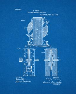 Electro-magnetic Motor Patent Print