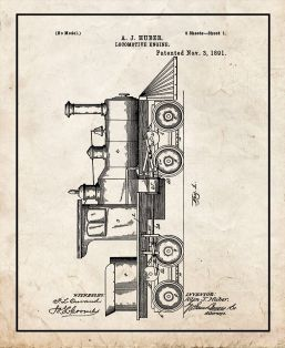 Locomotive Engine Patent Print