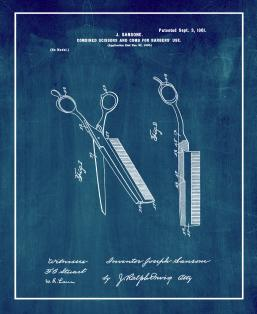 Combined Scissors And Comb For Barbers' Use Patent Print