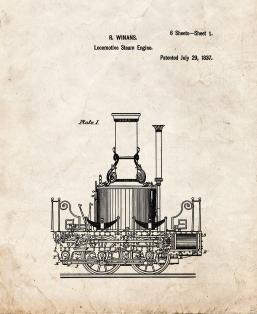 Locomotive Steam Engines Patent Print
