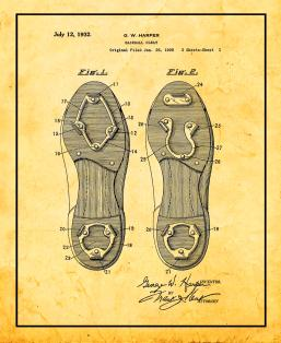 Baseball Cleat Patent Print