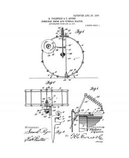 Combined Drum and Cymbal Beater Patent Print
