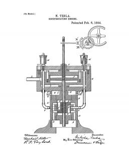 Tesla Reciprocating Engine Patent Print