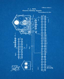 Electric Railway-signal Patent Print