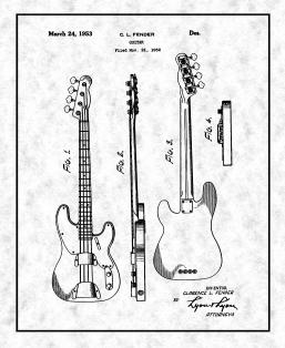 Clarence Fender Precision Bass Patent Print