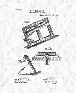 Book Support And Desk Patent Print