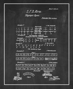 Morse Code Telegraph Signs Patent Print