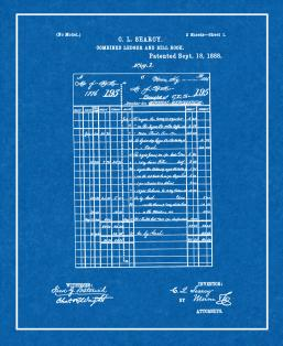 Combined Ledger And Bill Book Patent Print