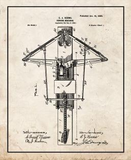 Rowing Machine Patent Print