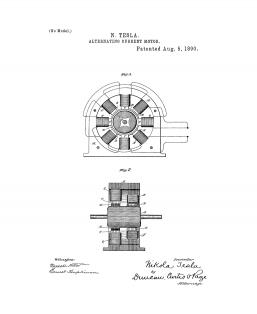 Tesla Alternating Current Motor Patent Print