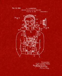 Breathing Apparatus for Use Under Water Patent Print