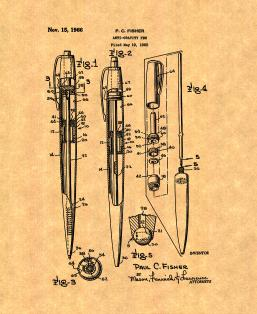 Anti-gravity Pen Patent Print