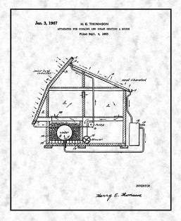 Apparatus for Cooling and Solar Heating A House Patent Print