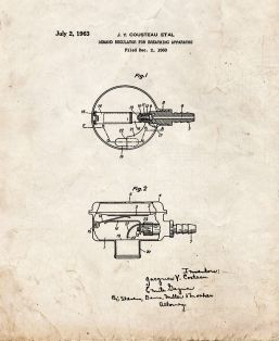 Jacques Cousteau Demand Regulator For Breathing Apparatus Patent Print