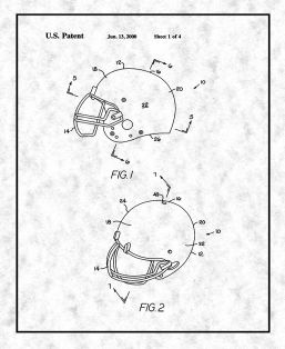 Football Helmet With Inflatable Liner Patent Print