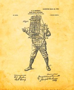 Baseball Catcher Patent Print