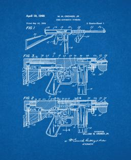 Semi-automatic Firearm Patent Print