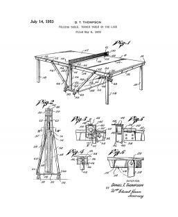Table Tennis or Ping Pong Table Patent Print
