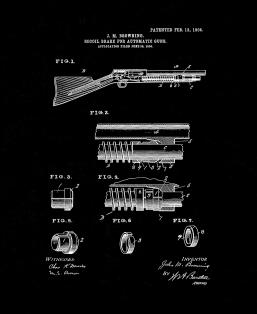 Browning Recoil-brake For Automatic Guns Patent Print