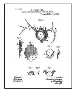 Escutcheon For Exhibiting Animals' Horns Patent Print