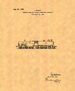 Combined Steam and Internal-combustion Locomotive Patent Print