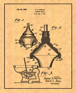 Toilet Plunger Patent Print